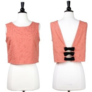57e6c5ce7eb406 PEPALOVES Textured Coral Crop Top w. Bow Back